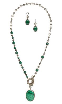 Single-Strand Necklace and Earring Set with Malachite Gemstone Cabochons and Beads, Antiqued Brass Drops and Focals and Antiqued Gold-Plated Brass Beads - Fire Mountain Gems and Beads