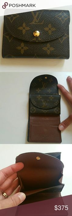 Authentic Louis Vuitton helene wallet Monogram canvas. Has bill slot, coin purse and credit card slots. Very little piping missing from lower left outside bottom side, but barely noticeable. Also has few scrapes under change purse above card slots as shown in second photo and inside change purse flap. Do not have dust bag. Louis Vuitton Bags Wallets