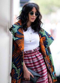 Stella Jean coat at Milan Fashion Week, street fashion