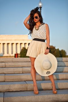 chic hat with polka dots and skirt