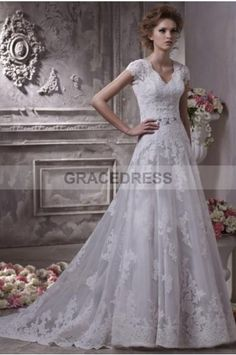 Buy A-line Court Train V-neck Lace A line Wedding Dresses A0130 With Quality Guarantee, 7 Days Return Polciy And Free Shipping to UK.