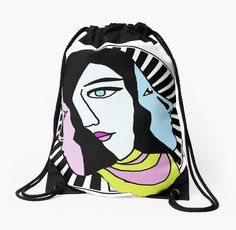 The Three Faced Woman Drawstring Bags