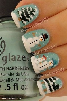Winter Nail Art with Snowman and Trees.