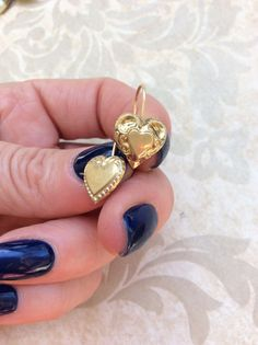 Antique GOLD HEART EARRINGS Prettiest Mismatched Heart Drop Danglers w Etching High Relief Raised Design Perfect Condition incredibly Pretty