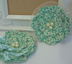 Shabby+Chic+Fabric+Flowers++Damask++Blue+and+by+curtseyboutique,+$7.00