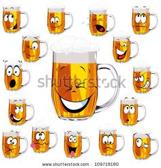 stock vector : Mug fresh beer  cartoon with cap of foam isolated on white background