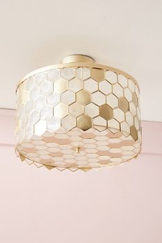 Honeycomb Flush Mount by Anthropologie in Gold, Lighting Brass Ceiling Light, Ceiling Lights, Gold Ceiling, Drum Coffee Table, Teal Kitchen Decor, Hallway Lighting, Unique Lighting, Lighting Ideas, Pendant Lighting