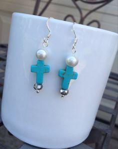 Turquoise Cross Earrings. Dangle Cross Earrings. by OkieUkieDesign