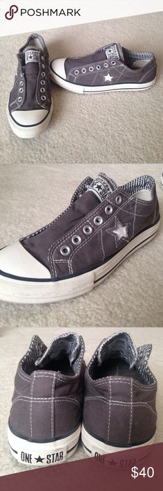 Converse One Star Slip Ons These are dark gray, lightly used canvas slip ons in the size 8.5. Converse Shoes Sneakers