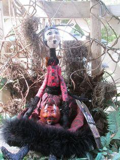 Original Halloween Folk Art Devil Girl Art by Creativelyjuiced Polka Dot Fabric, Creepy Art, Halloween Art, Tag Art, Girl Dolls, Art Girl, Devil, Folk Art, Paper Art