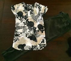 Floral Top in Black/Cream - Ann Taylor. Soft Pant in Olive Green - The Loft. Necklace - The Loft.