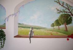 Paesaggio con gatto