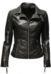 "Damen Lederjacke ""Kate"" gesteppt washed Schwarz"