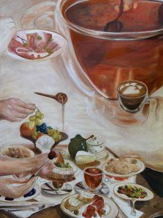 Slow breakfast - Covid lessons, oil painting by Ildikó Mecséri #painting #covid #art #fineart Slow, Modern Art, Paintings, Painting Art, Painting, Contemporary Art, Paint, Draw, Portrait