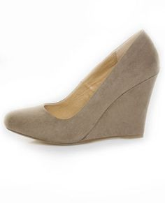 taupe suede wedge shoes, $63 lulus.com