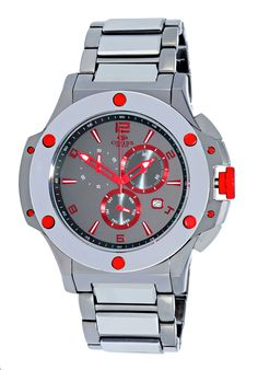Oniss ON612-112R Men's Watch Red Accents Stainless Steel / Tungsten Swiss Chronograph Watch