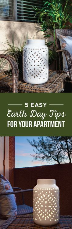 Love these little solar lamps that they talk about in the article for outdoor lighting. Super helpful Earth Day tips for my apartment. So going to use this at home! Green Tips, Go Green, Earth Day Tips, Eco Friendly Cleaning Products, Outdoor Lighting, Outdoor Decor, Solar Lamp, Apartment Living, Life Hacks