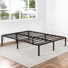 Winston Porter Sagamore Platform Bed | Wayfair Metal Platform Bed, Upholstered Platform Bed, Platform Beds, Panel Headboard, Panel Bed, Bookcase Headboard, Steel Bed Frame, Lesage, Under Bed Storage