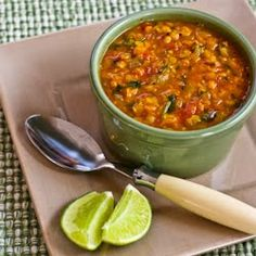 Kalyn's Kitchen®: Recipe for Mexican Red Lentil Stew with Lime and Cilantro (Vegan)  [#SouthBeachDiet friendly recipe]