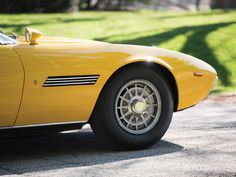 RM Auctions - 1968 Maserati Ghibli Spyder in bright yellow Maserati Ghibli, Playboy, Vintage Cars, Classic Cars, Automobile, Running, Vehicles, Bright Yellow, Autos