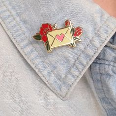 "thegolddig:  Love letters 1"" lapel pin(more information, more etsy gold)"