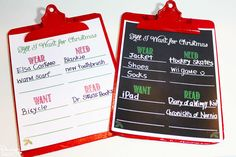 All I Want for Christmas Wish Lists Printables