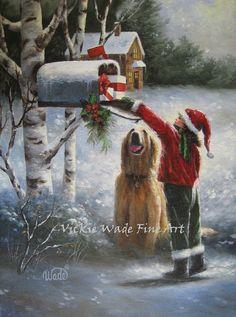 Christmas Brunette Girl Art Print santa hat by VickieWadeFineArt