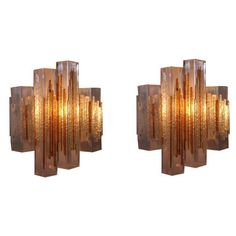 Pair of Poliarte Cubic Glass Wall Sconces, Italy, 1960s - Great original vintage glass wall sconces. Made of cubic glass elements and rough colored glass strips mounted on an aluminum wall fixture. Stylish three dimensional composition.