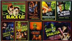 Radio Days Presents Classic Monsters in Spooky Horror Movie Fabric - Robert Kaufman Movie Posters
