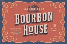 Bourbon House is Layered type family inspired by classic whiskey labels and Sing Painting. Strong Serif allcaps letters looking good in any vintage labels, logos, packages, headlines and text blocks. Vintage Fonts, Vintage Labels, Vintage Frames, Vintage Designs, Whiskey Label, Scotch Whiskey, House Outline, Presentation Example, Font Shop