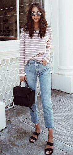 Striped top + bag + skinnies