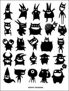 Little Monsters Silhouettes Mehr Doodle Monster, Monster Drawing, Monster Party, Cute Monsters, Little Monsters, Holidays Halloween, Halloween Crafts, Art Indien, Moldes Halloween