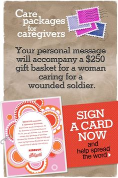 From our friends at @REDBOOKmag: LAST CHANCE to sign a card that will accompany a special care package to the wife or mother of a wounded Service Member. Submissions close at 9 p.m. TONIGHT! Please share this link with everyone you know: http://redbk.co/6038p5WQ