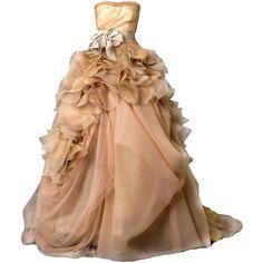 сервис публикации и хранения изображений ❤ liked on Polyvore featuring dresses, gowns, vestidos, long dresses, beige gown, vera wang, beige dress, vera wang dresses and beige long dress