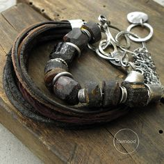 Bracelets' set - sterling silver, amber, garnet, raw black tourmaline ,leather and silk