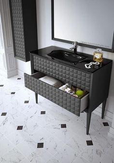 mueble de baño gris antracita satinado con textura de capitoné y lavabo de cristal color negro