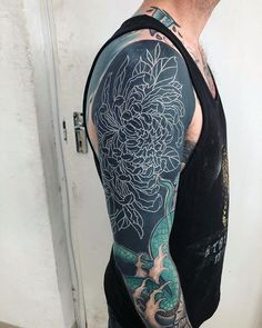 Second pass on 's white crysthanthenum. Black Sleeve Tattoo, Black Ink Tattoos, Best Sleeve Tattoos, White Over Black Tattoo, Black Tattoo Cover Up, Cool Tattoos For Guys, Badass Tattoos, Best Cover Up Tattoos, Traditional Black Tattoo