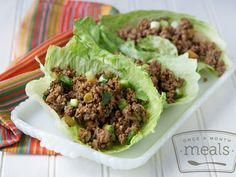 Spicy Beef Lettuce Wraps | OAMC from Once A Month Meals