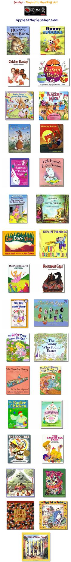 Suggested thematic reading list for Easter - Easter books for kids. Stories and picture books.