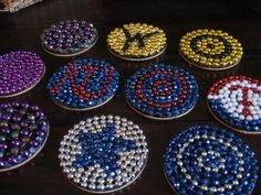 Mardi Gras Bead upcycled coasters. Better than throwing them in my kids toy boxes.