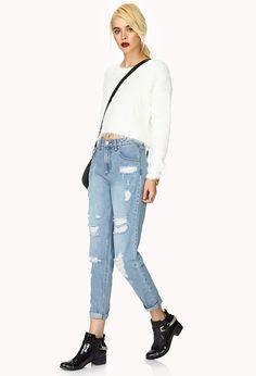 Favorite Destroyed Boyfriend Jeans | FOREVER21 Boyfriend < boyfriend jeans #MustHave #Denim