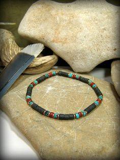 Mens Bracelet,  Tribal Beaded Heishi Bracelet  by StoneWearDesigns