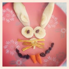 Easter bunny snack made of fruit and veggies... Do it with just fruit and you could top pancakes with it for breakfast!