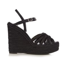 Saint Laurent Espadrille wedge sandals (€535) ❤ liked on Polyvore featuring shoes, sandals, black, espadrille sandals, floral sandals, espadrille wedge sandals, floral print sandals and wedge espadrilles