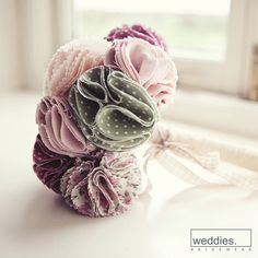 Items similar to Fabric Bridal Bouquet on Etsy Fabric Bouquet, Fabric Flowers, Bouquet Photography, Pink Gingham, Buttonholes, One Color, Special Day, Diy Wedding, Wedding Bouquets