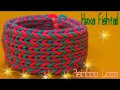 M Rainbow Loom Bracelet Tutorial - Hexa Fishtail Bracelet Rainbow Loom… Monster Tail Loom, Fishtail Bracelet, Rainbow Loom Tutorials, Loom Craft, Rainbow Loom Bracelets, Loom Bands, Bracelet Tutorial, Suncatchers, Diy Jewelry