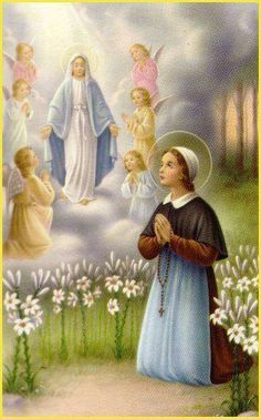 Lourdes. St Bernadette and our Holy Mother describing herself as the Immaculate Conception.