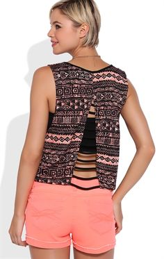 Tribal Print Tank Top with Banded Slash Back