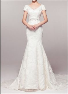 Sophisticated lace gown with short sleeves and train