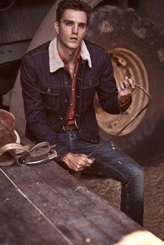 Josh Beech Has 70s Workers Cool in Mango Man Blacksmith Denim #FocusonJeans® #indigos #FocusTextil